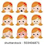 girl emotion faces cartoon....