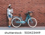 beauty with vintage bike.... | Shutterstock . vector #503423449