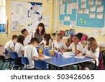 primary school teacher with... | Shutterstock . vector #503426065