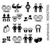 Twin Babies Icons Set   Double...