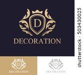 luxury logo concept heraldic... | Shutterstock .eps vector #503430025