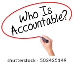 Small photo of Women Hand writing Who Is Accountable? with black marker on visual screen. Isolated on white. Business, technology, internet concept. Stock Image