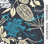 seamless pattern with tropical... | Shutterstock .eps vector #503438101