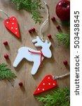 handmade hanging wooden deer... | Shutterstock . vector #503438545