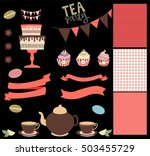 tea party set with cute sweet... | Shutterstock .eps vector #503455729