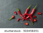 sliced fresh red chillies... | Shutterstock . vector #503458351