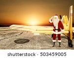 santa claus and yellow small... | Shutterstock . vector #503459005