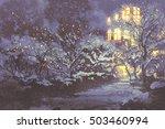 Night Scenery Of Snowy Winter...