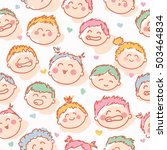 cheerful child faces seamless... | Shutterstock .eps vector #503464834