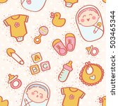 colorful lovely baby icons... | Shutterstock .eps vector #503465344