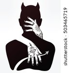 hand drawn beautiful silhouette ... | Shutterstock .eps vector #503465719