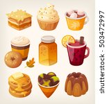 delicious caramel desserts. hot ... | Shutterstock .eps vector #503472997