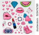 vector icons set of stickers in ... | Shutterstock .eps vector #503476789