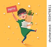 party after hard work or study. ... | Shutterstock .eps vector #503478811