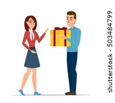 cartoon boy giving girl a gift... | Shutterstock .eps vector #503484799