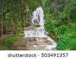 viewpoint of punyaban waterfall ...   Shutterstock . vector #503491357