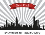 new york city skyline with rays ... | Shutterstock .eps vector #503504299
