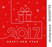 2017 happy new year gift in red | Shutterstock .eps vector #503509759
