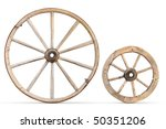 Two Antique Wood Wheels