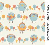 cute birds with clothes... | Shutterstock .eps vector #503517607