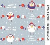 funny birds christmas seamless... | Shutterstock .eps vector #503517625