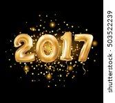 metallic gold letter balloons... | Shutterstock .eps vector #503522239
