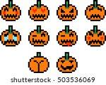 halloween pumpkins pixel art... | Shutterstock .eps vector #503536069