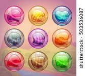 colorful glossy bubbles with...
