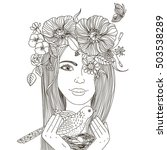 girl with floral wreath on her... | Shutterstock .eps vector #503538289
