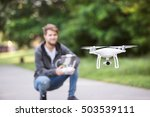 young hipster man with flying... | Shutterstock . vector #503539111