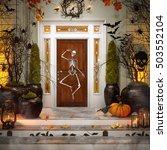 Front Door With Halloween...