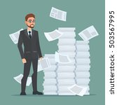 paperwork and overworked  of an ... | Shutterstock .eps vector #503567995