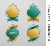 set of abstract 3d golden and... | Shutterstock .eps vector #503579974