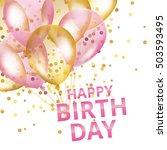 Balloons Happy Birthday. Gold...