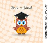 cute owl with graduation hat... | Shutterstock .eps vector #503597029