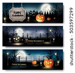 three holiday halloween banners ... | Shutterstock .eps vector #503597299