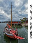 Small photo of Assorted boats in restored Maritime Quarter Sjokvarteret of the Slemmern Eastern Harbour in Mariehamn on the Aland island archipelago, Finland