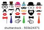 retro party set. glasses  hats  ... | Shutterstock .eps vector #503624371