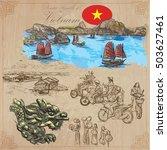 travel series  vietnam.... | Shutterstock .eps vector #503627461