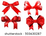 red ribbon bow. gift box... | Shutterstock . vector #503630287