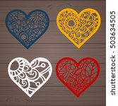 set of laser cut heart labels.... | Shutterstock .eps vector #503634505