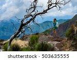 woman traveler at madeira... | Shutterstock . vector #503635555