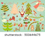 merry christmas card with santa ... | Shutterstock .eps vector #503644675
