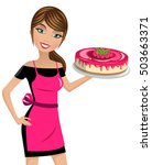 beautiful woman cook holding... | Shutterstock .eps vector #503663371