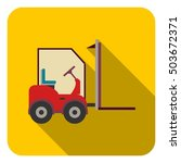 forklift icon in flat style... | Shutterstock .eps vector #503672371