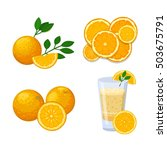 ripe fresh orange on a white... | Shutterstock .eps vector #503675791