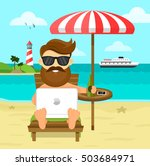 on the beach freelance work  ... | Shutterstock .eps vector #503684971