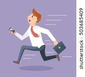 employee rush to the office and ... | Shutterstock .eps vector #503685409