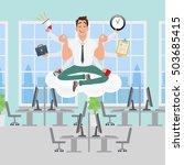 businessman meditating in the... | Shutterstock .eps vector #503685415