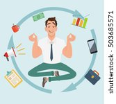 manager character meditating... | Shutterstock .eps vector #503685571